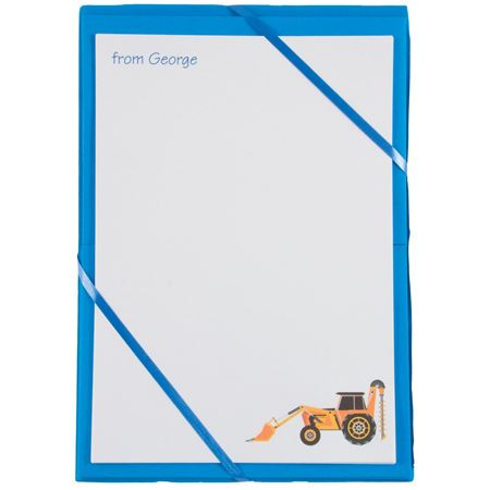 Picture of Named Notepaper - Digger (Blue)