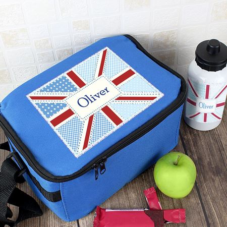 Picture of Lunch Bag & Bottle Set - Patchwork Union Jack