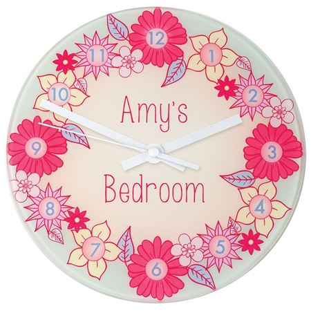 Picture of Flower Garland - Personalised Wall Clock