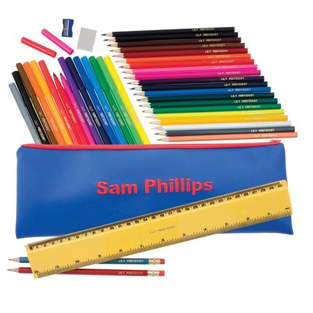 Picture of Embroidered Jumbo Pencil Case - Blue