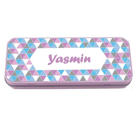 Picture of Named Pencil Tin - Pink Geo