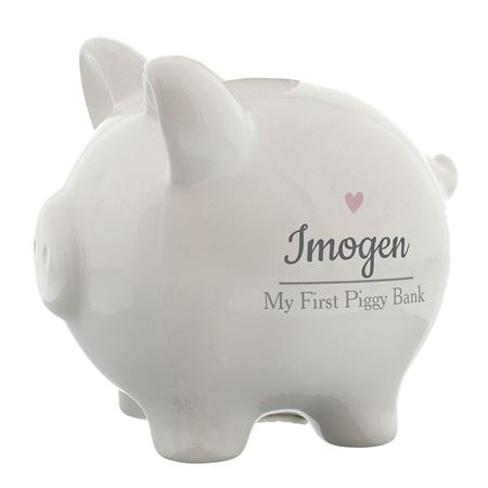 Picture of Personalised Pink Heart Piggy Bank